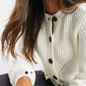 Chunky high-neck button up cardigan